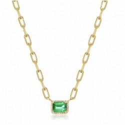 14k Yellow Gold Diamond Emerald Link Necklace