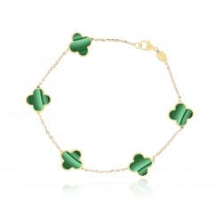 14k Yellow Gold Malachite Clover Bracelet