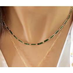 14k Yellow Gold Malachite Necklace