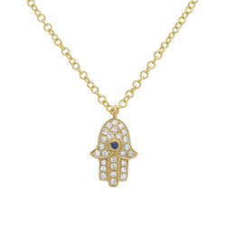 14k Yellow Gold Mini Diamond Hamsa Necklace