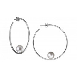 Silver Hoop w Pearl Earring