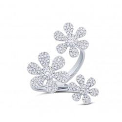 14k White Gold Diamond Floating Flower Ring
