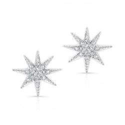 14k White Gold Diamond Starburst Stud Earrings