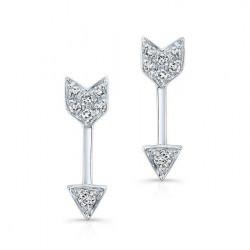 14k Diamond White Gold Arrow Stud Earrings