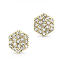 14k Yellow Gold Diamond Hexagon Pave Studs