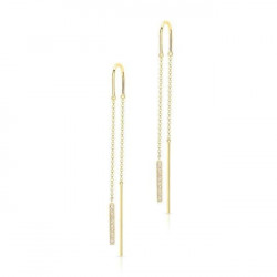 14k Yellow Gold Diamond Bar Threader Earrings