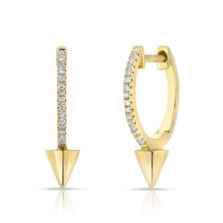 14k White Gold Diamond Dagger Huggie Earrings