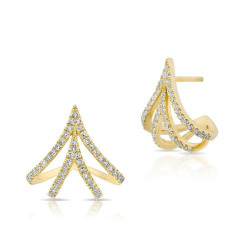 14k Diamond Fashion Huggie Earring