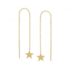 14k Yellow Gold Star Threaders earrings