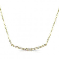 14k Yellow Gold Mini  Diamond Cresent Bar necklace