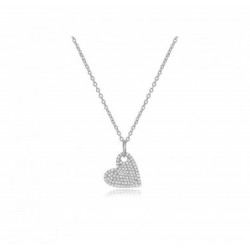 14k White Mini Diamond Heart Necklace