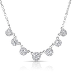 14k White Gold Diamond Circle Drop Necklace