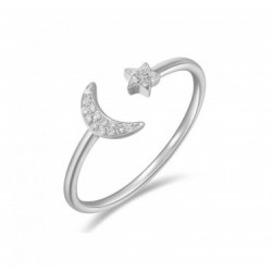 14k White Gold Diamond Moon & Star Ring