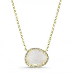 14k Yellow Gold Diamond Moonstone Necklace