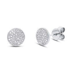 !4k White Gold Diamond Pave Studs
