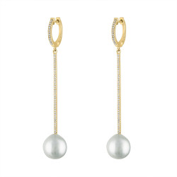 14k Yellow Gold Diamond Pearl  Drop earring