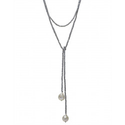 Beaded Grey Crystal w Baroque Pearl Lariat