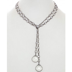 38' Sterling Silver CZ Wrap Necklace w Clear Quartz Drops