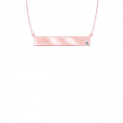 14K Rose Gold Nameplate Necklace with Diamond