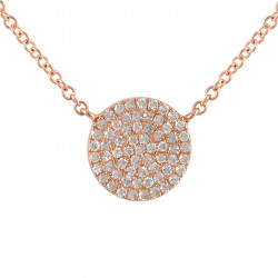 14k Rose Gold Pave Diamond Disc Necklace
