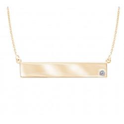 14k Yellow Gold Name Plate w Diamond