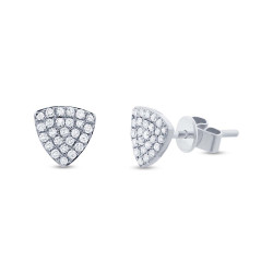 14k White Gold Diamond Pave Oragnic Triangle Studs