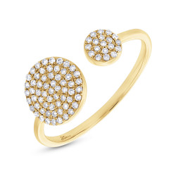 14k Yellow Gold Pave Diamond Circle Ring