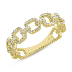 14k Yellow Gold Diamond Link Ring