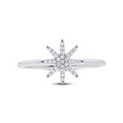 14K White Gold Pave  Diamond Starburst Ring