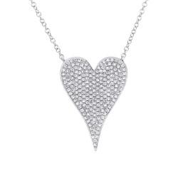 14K White Gold Diamond Pave Heart Necklace