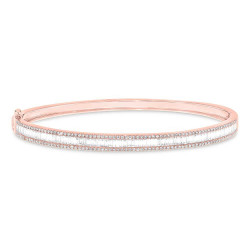 14k Diamond Baguette Bangle Bracelet