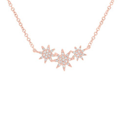 14k Rose Gold Diamond Triple Starburst Necklace