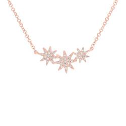 14k Rose Gold Diamond Triple Starburst Necklace