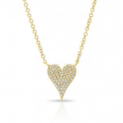 14k Yellow Gold Pave Diamond Pave Heart Necklace