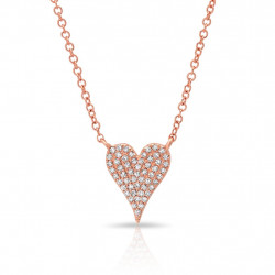 14k Rose Gold Diamond Modern Pave Heart Necklace
