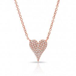 14k Rose Gold Diamond Modern Pave Heart Necklace