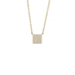 14K Yellow Gold Pave Diamond Square Necklace