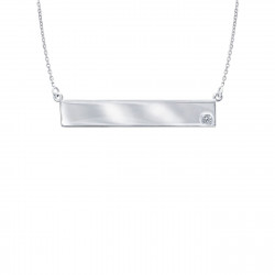 Sterling Silver Nameplate Necklace with CZ