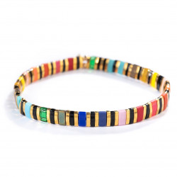 Candy Beaded Bracelet - Black Rainbow