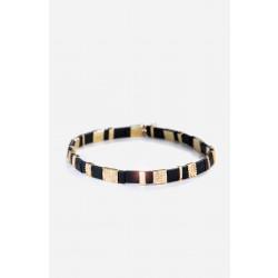 Two Toned Pave Beaded Bracelet - Black