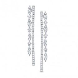 14k White Gold Diamond Drop Earring