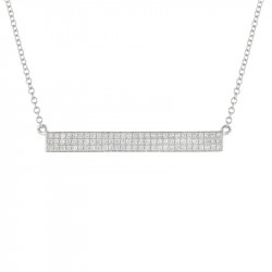 14k White Gold Pave Diamond Bar Necklace