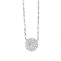 14k White Gold Diamond Pave Disc Necklace