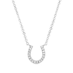 14 K White Gold Diamond Pave Horseshoe Necklace