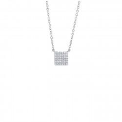 14K White Gold Diamond Pave Square Necklace