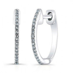 14k White Gold Diamond Huggie Earring