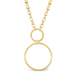 14k Yellow Gold Plated Circle Link Necklace