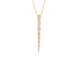14K Yellow Gold Graduated  Diamond Pave Necklace