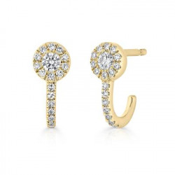 14k Yellow Gold Diamond Earring