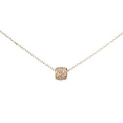 14k Yellow Gold Diamond Barrel Necklace